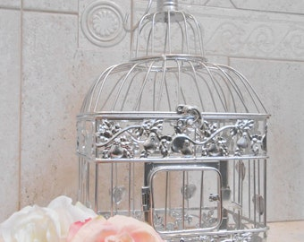 Small Silver Foil Wedding Birdcage Card Holder | Chrome Silver Birdcage | Silver Wedding Decor | DIY Wedding Birdcage | 2018 Wedding Trends