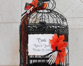 Black and Orange Halloween Wedding Birdcage Card Holder   Halloween Wedding Decor   Gothic Wedding   Fall Wedding