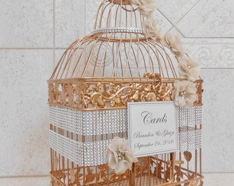 Bling Rose Gold Wedding Birdcage Card Holder | Wedding Card Box | Wedding Card Holder | Bling Wedding Decor