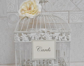 Birdcage Wedding Card Holder | Ivory Birdcage | Wedding Box | Elegant Wedding | Wedding Cardholder | Ivory Card Box