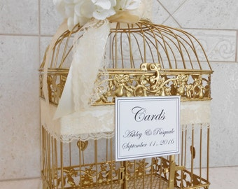 Gold Birdcage Wedding Card Holder | Wedding Card Box | Gold Birdcage | Card Holder | Gold and White | Gold and Ivory