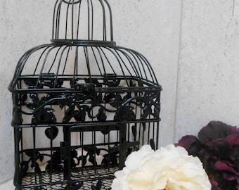 Small Black Wedding Birdcage Card Holder | Black Birdcage | Black Wedding Decor | Gothic Wedding | DIY Wedding Birdcage