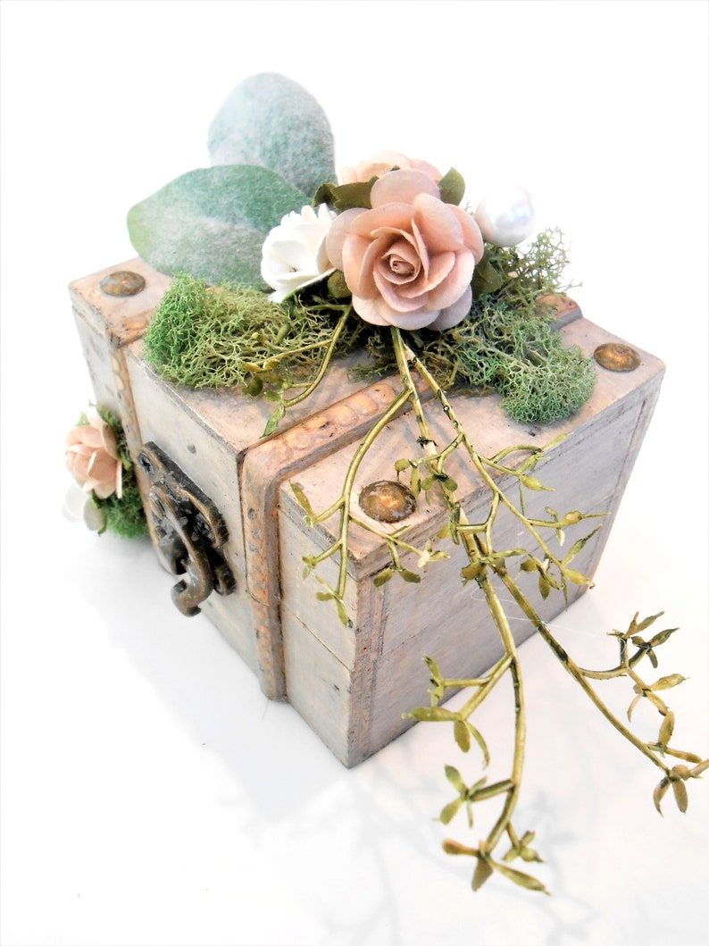 Moss Wedding Decor Floral Wedding Ring Box Engagement Proposal Ring Bearer Pillow Box Rustic Shabby Boho Chic Woodland Weddings