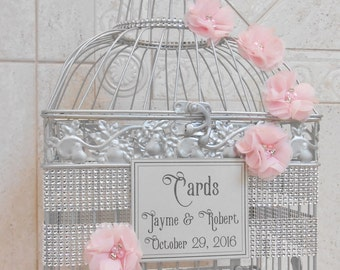 Pink and Silver Bling Wedding Birdcage Card Holder | Wedding Card Box | Wedding Card Holder | Bling Wedding Decor
