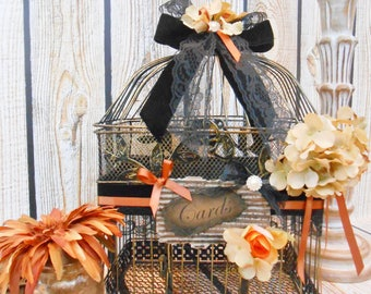 Large Black and Gold Fall Wedding Birdcage Card Holder | Wedding Card Box | Birdcage Card Holder | Fall Wedding Decor