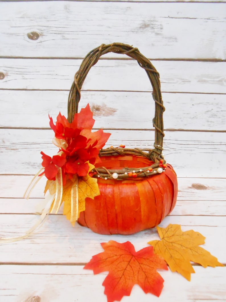 Fall Basket Orange Basket Fall Leaf Wedding Decor Wedding Decorations Pumpkin Basket Flower Girl Basket Harvest Rustic Wedding