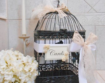Elegant Wedding Birdcage Card Holder | Wedding Card Box | Feather Wedding Decor | Rustic Wedding | Birdcage Card Box [Ready to Ship]