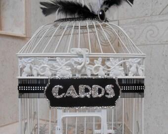 Wedding Birdcage Card Holder   Wedding Card Box   Great Gatsby Inspired   Vintage 1920's Style   Art Deco Wedding