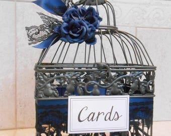 Small Navy Blue Wedding Birdcage Card Holder   Wedding Card Box   Navy Blue Wedding Decor   Silver Birdcage   Gray Birdcage   Made To Order