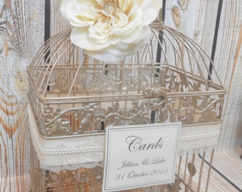 Champagne Gold Wedding Birdcage Card Holder | Wedding Card Box | Lace and Pearls | Customized Birdcage
