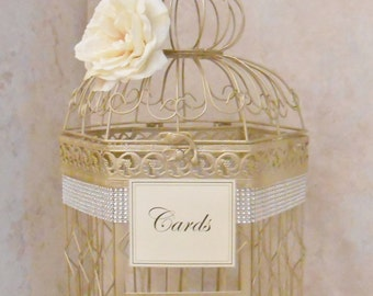 Champagne Gold Wedding Birdcage Card Holder | Wedding Card Box | Wedding Card Holder |  Bling Wedding Decor