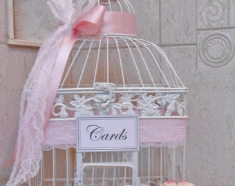 White Birdcage Card Holder | Wedding Card Box | Wedding Card Holder | Wedding Shower | Bridal Shower | Baby Shower