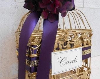 Gold Wedding Birdcage Card Box | Wedding Card Holder | Gold Birdcage | Purple Wedding | Wedding Decor | Cardbox
