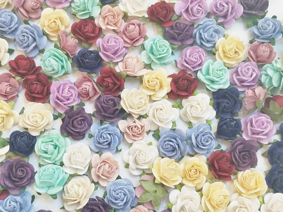 You Choose Your Colors Mini Paper Rose Decorations Place Card Flowers Paper Craft Flowers Wedding Decoration 150 300 Roses 3 4