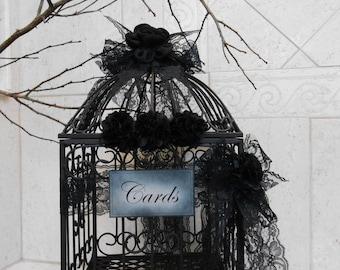 Romantic Gothic Black Lace Wedding Birdcage Card Holder   Wedding Card Box   Gothic Wedding Decor   Halloween Wedding Decoration