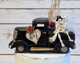 Personalized Skeleton Wedding Cake Topper | Halloween Wedding Decor | Fall Cake Topper | Rustic Vintage Truck Cake Decoration