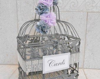 Gray & Purple Birdcage Wedding Card Holder | Wedding Card Box | Wedding Box | Gray Wedding | Silver Wedding