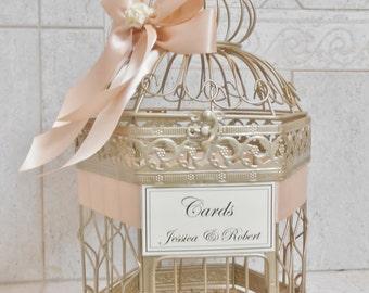 Champagne Gold Wedding Birdcage Card Holder   Wedding Card Box   Birdcage Card Holder   Wedding Decor   Blush Wedding