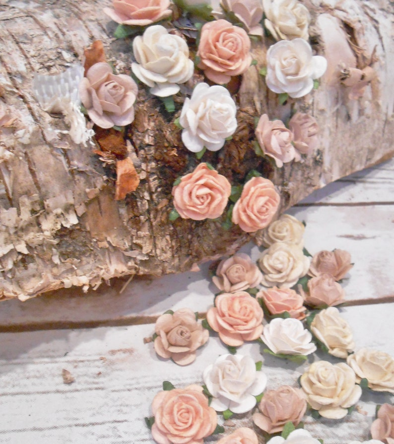 Set of 40 Mixed Color Paper Roses Peach Blush Artificial Flowers Tiny Roses White 34 Mini Paper Flowers Ivory Roses DIY Wedding