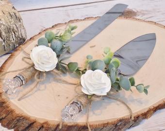 Rustic Eucalyptus Wedding Cake Serving Set | Cake Serving Knife | Rustic Wedding Decor | Cake Server Knife Set Wrapped in Twine