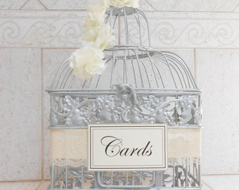 Silver Birdcage Wedding Card Holder | Wedding Card Box | Wedding Box | Ivory & Silver Wedding Wishing Well Box