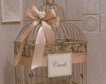 Champagne Gold and Blush Wedding Card Box | Wedding Card Holder | Birdcage Card Holder | Wedding Decor