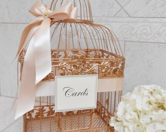 Rose Gold and Blush Wedding Card Box | Wedding Card Holder | Birdcage Card Holder | Wedding Decor | Card Holder