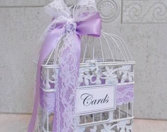 White Wedding Birdcage Card Holder | Wedding Card Box | Baby Shower Card Holder | Lavender Lilac Purple Wedding Decor