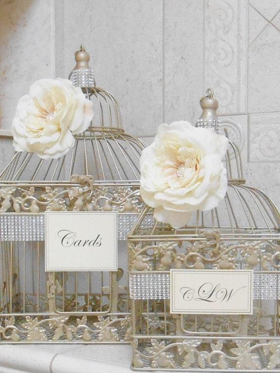 Champagne Gold Wedding Birdcage Card Holder Set Wedding Card Etsy