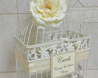 Ivory Pearl Wedding Birdcage Card Holder | Wedding Card Box | Lace and Pearls | Wedding Decor | Vintage Wedding Decor