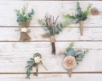 Eucalyptus Boutonniere | Rustic Wedding Greenery Boutonnieres | Boutonniere Key | Woodland Wedding Accessories | Burlap Groomsmen Lapel Pins