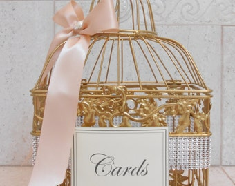 Sparkling Blush and Gold Wedding Birdcage Card Holder | Wedding Card Box | Gold Card Box | Wedding Decor
