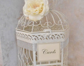 Ivory Wedding Birdcage Card Holder | Wedding Card Box | Wedding Card Holder | Wedding Decor | Bling Wedding