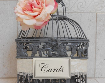 Gray Wedding Birdcage Card Holder | Wedding Card Box | Wedding Decor | Wedding Birdcage | Pink and Gray Wedding Decor