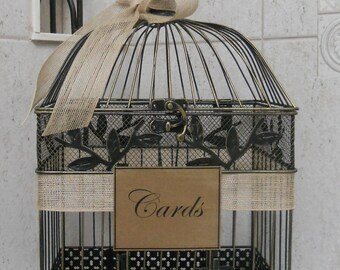 Card Box Wedding Card Holder | Birdcage Card Holder  Burlap Wedding | Rustic Wedding Decor