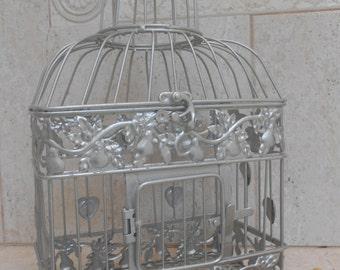 Small Titanium Silver Wedding Birdcage Card Holder | Silver Birdcage | Silver Wedding Decor | DIY Wedding Birdcage
