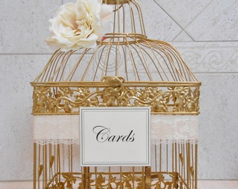 Gold Wedding Birdcage Card Holder | Wedding Card Box | Wedding Card Holder | Wedding Birdcage