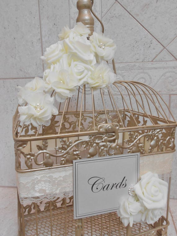 Champagne Gold And Ivory Wedding Birdcage Card Holder Wedding Card