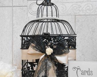 Black Wedding Birdcage Card Holder With Pearl and Lace Detail | Wedding Card Box | Elegant Wedding Decor | Card Holder