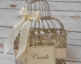 Wedding Birdcage Card Box | Wedding Card Holder | Wedding Card Box | Wedding Birdcage | Wedding Decor | Gold Birdcage