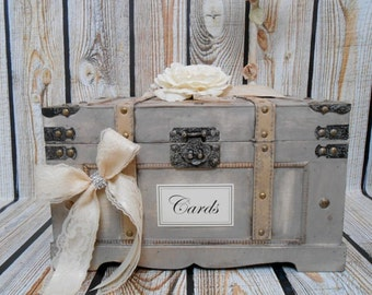 Wooden Wedding Card Box | Wedding Card Holder | Wedding Trunk | Rustic Wedding Box | Large Card Box