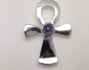 ANHK, IOLITE, DARK, Large, Pendant, Original Design,7mm, aa+, Stone, Sterling, Silver, Hand Made, Great Stone, Egyptian,better than picture!