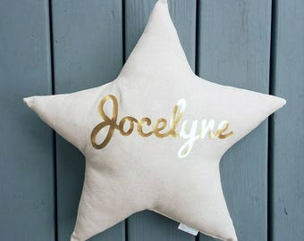Gold Name Star Pillow, personalized baby pillow, custom baby gift, star shaped cushion,star nursery decor, baby name pillow, baby pillow
