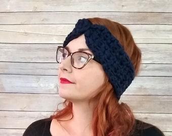a475ba2d1ca9a Navy ear warmer headband, turban ear warmer, chunky ear warmer, crochet/  knit ear warmer, winter accessory, winter headband, ear muffs,