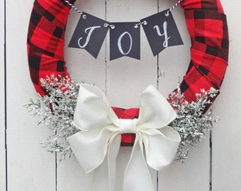 buffalo plaid christmas wreath plaid wreath rustic plaid wreath joy christmas wreath plaid xmas decor buffalo plaid christmas decor - Christmas Wreaths Etsy