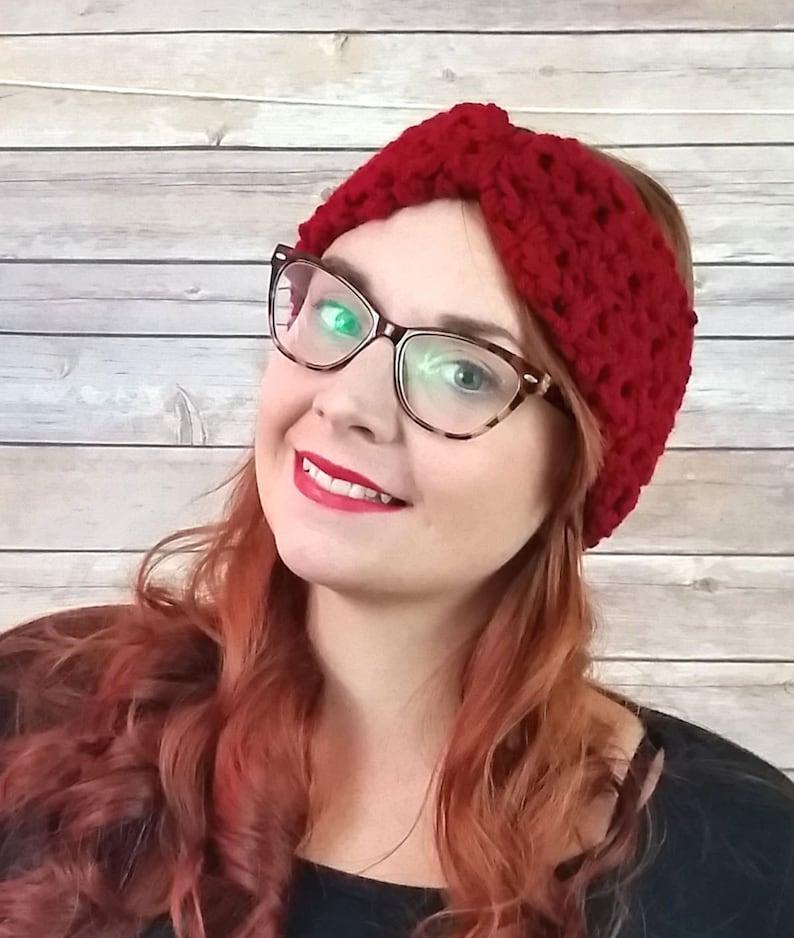 ear muffs, winter headband turban ear warmer winter accessory chunky ear warmer crochet knit ear warmer Burgundy ear warmer headband