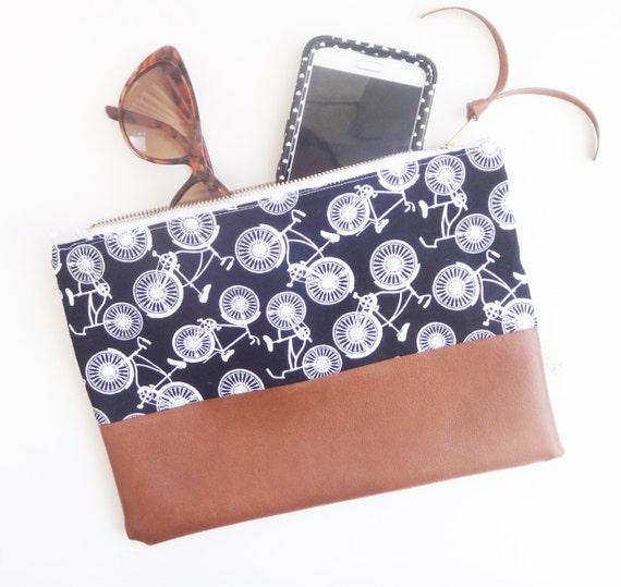 Deux tons sac à main pochette, sac à main en simili cuir, sac à main en cuir vegan, maquillage sac pochette zippée, pochette vélo, sac à main pochette, crayon
