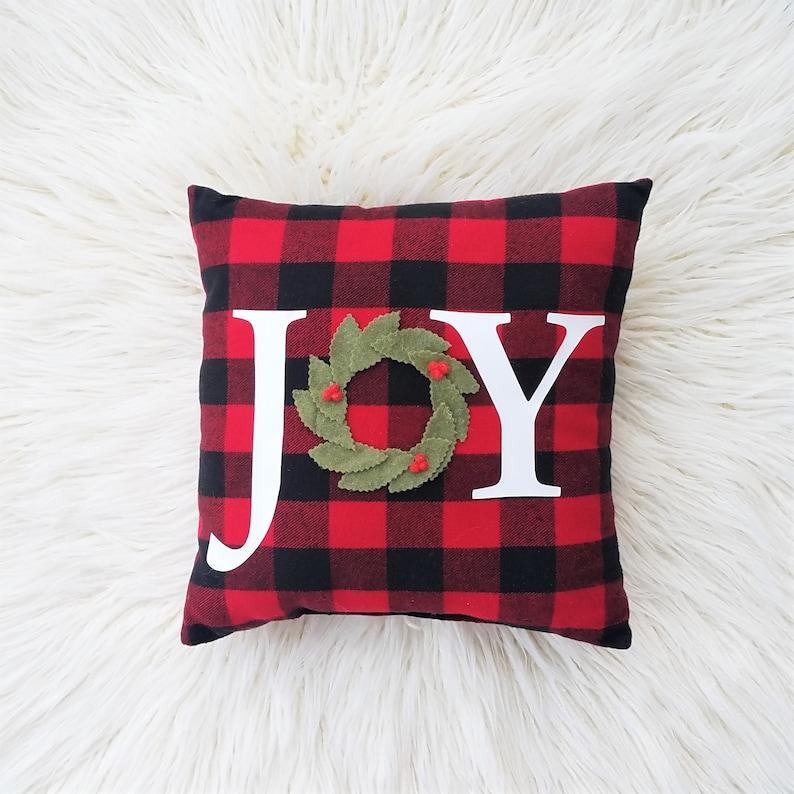 Christmas Joy pillow Christmas buffalo plaid pillow red image 0