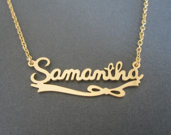 Personalized Name Necklace with Ribbon Bow - 4 Colors - Custom Name Necklace - Baby Name - Girl Necklace - Children Names Necklace