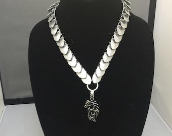 Silver Scale Dragon Necklace